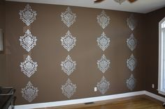 Stenciled Damask Accent Wall
