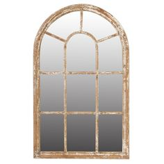 Lily Manor Open up a wall of your home with this window-inspired mirror, perfect above the master bath vanity or dresser. Mirror Above Couch, Arch Mirror, Wood Mirror, Window Mirror, Modern Farmhouse Style, Farmhouse Decor, House Entrance, Beveled Glass, Large Mirrors