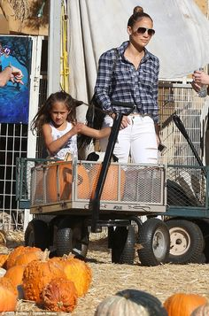 Halloween time: Jennifer Lopez took her six-year-old twins Emme and Max to Mr Bones Pumpki...