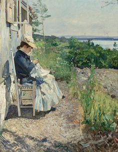 My featured artist today is one who produced many paintings of differing genres, such as history paintings, landscape and seascape paintings and portraiture. Hjalmar Eilif Emanuel Peterssen was bo… Skagen, Belle Epoque, Pintura Exterior, Mary Cassatt, Edvard Munch, Scandinavian Art, Sewing Art, Art For Art Sake, Seascape Paintings