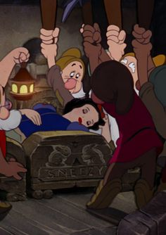 Walt Disney movie Snow White and the Seven Dwarfs Dwarfs finding Snow White in there beds