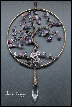 Gemstone Crystal, Copper Wire Suncatcher. Garnets, Amethyst, Jade, Topaz, Ametrine, Ruby, Moonstone, Fluorite and Swarovski. Cathy Heery