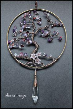 Gemstone & Crystal, Copper Wire Suncatcher for Jodys custom order......with Garnets, Amethyst, Jade, Topaz, Ametrine, Ruby, Moonstone,