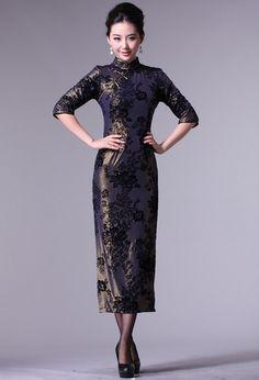 3/4 Sleeve Chinese Qipao / Cheongsam Evening Dress