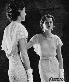 Vintage 30's Crochet Wedding Dress  PDF Pattern  by KissproofGirly