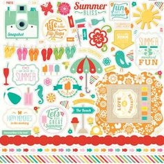 Echo Park 12x12 Cardstock Stickers - Summer Bliss - Elements