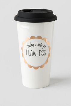 """Today+I+Woke+Up+FLAWLESS""+Enjoy+your+morning+coffee+or+tea+is+this+fun+&+inspirational+travel+mug!<br+/>  <br+/>  -+15+oz+ceramic+cup<br+/>  -+Silicone+lid<br+/>  -+Double+walled<br+/>  -+Food+safe<br+/>  -+Hand+wash+only<br+/>  -+Imported<br+/>"