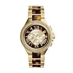 This luxurious women's timepiece by Michael Kors features a yellow goldtone bracelet with a tortoise runway design. Completed by a matching two-tone dial and three (3)  subdials, this crystal embellished watch is stylish and multi-functional.