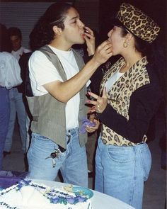 Selena and Chris celebrating their 1st Wedding anniversary. (1993)