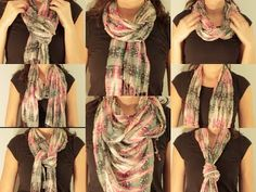 As I excitedly anticipate Spring I was inspired to share my top 10 favorite ways to wear a scarf. I just love how a scarf can completely transform an outfit . Ways To Tie Scarves, Ways To Wear A Scarf, How To Wear Scarves, Scarf Knots, Diy Scarf, Plaid Scarf, Diva Fashion, Womens Fashion, Casual Outfits