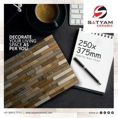 DECORATE YOUR LIVING SPACE AS PER YOU  Satyam Ceramic Digital Wall Tiles:- 250x375 MM  #satyamceramic #Satyamtiles #digitalwalltiles #walltiles #tiles #ceramic #kitchen #bathroom #bedroom #livingroom #10x15 #250x375 #ceramicindia #tilesmanufacturers #Morbi #gujarat #india Digital Wall, Wall Tiles, Living Spaces, India, Ceramics, Bathroom, Kitchen, Decor, Room Tiles