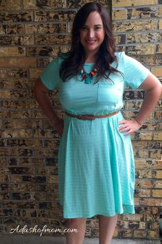 LuLaRoe Carly dress with a skinny belt and short, colorful necklace