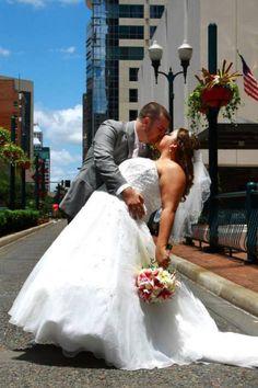 Downtown wedding pose