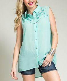 Another great find on #zulily! Mint Sheer Embroidered Hi-Low Button-Up - Plus #zulilyfinds