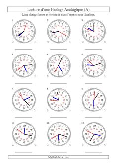 New Reading Time on 12 Hour Analog Clocks in 1 Minute Intervals (A) Math Worksheet PLUS many more U. style 12 hour clocks on our time worksheets page. Clock Worksheets, Shapes Worksheets, Printable Math Worksheets, Writing Worksheets, Worksheets For Kids, Christmas Worksheets, School Worksheets, Clock Printable, Shapes Worksheet Kindergarten