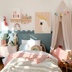Big Girl Bedrooms, Little Girl Rooms, Girls Pink Bedroom Ideas, Rainbow Girls Bedroom, Girl Toddler Bedroom, Toddler Girls, Kids Bedroom Ideas For Girls Toddler, Kids Room Design, Art Wall Kids