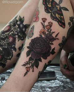My legsleeves in process: Purple rose/golden poppies done by Olga Nekrasova (fflowerporn) Moth done by Alice Juno Strawberries/blueberries done by Tracy D Other partial visible tattoos done by Barbara Swingaling and Susanne König (suflanda)