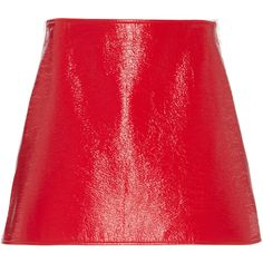Courrèges Iconic Zip Side Patent Skirt ($550) ❤ liked on Polyvore featuring skirts, mini skirts, red, mini skirt, patent leather skirt, red mini skirt, zipper mini skirt and zip skirt