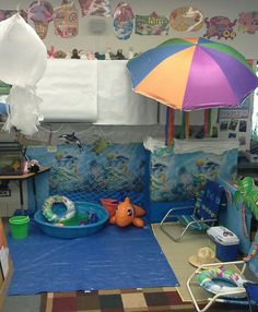 Ocean/Beach - Music and Drama - Preschool beach/ocean dramatic play area Dramatic Play Themes, Dramatic Play Area, Dramatic Play Centers, Preschool Dramatic Play, Camping Dramatic Play, Beach Theme Preschool, Preschool Activities, Preschool Classroom, Ocean Themes