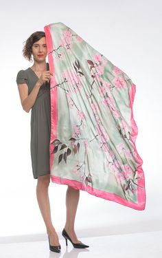 Sakura Silk satin shawl Hand painted scarf/ Bridal от klaradar
