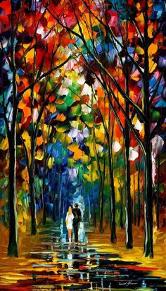 "LOVE VIBRATIONS — PALETTE KNIFE Oil Painting On Canvas By Leonid Afremov - Size 36""x20"""