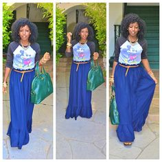 Today's outfit on stylepantry.com | Vintage Disney Tee + Maxi for a Farmer's market run
