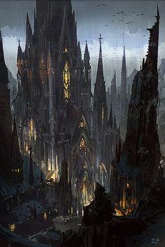 New Gothic Castle Fantasy landscape Fantasy art Fantasy city