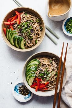 Cold Soba Noodles with Almond Butter Sauce (Vegan) - easy weeknight meal ready in 20 minutes #noodles #veganrecipes