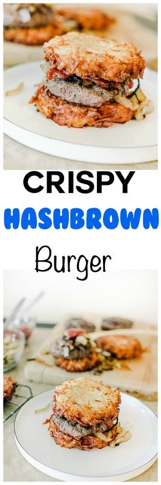 Crispy Hashbrown Burger: Ultra crispy hashbrowns wrapped around a juicy burger. Forget fries and get your potato fix wrapped about your burger patty! Burger Recipes, Lunch Recipes, Beef Recipes, Cooking Recipes, Potato Recipes, Vegetarian Recipes, Healthy Recipes, Gluten Free Sandwiches, Potato Pasta