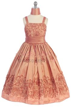 bbd495e7c2 Coral Taffeta Designer s Quality Flower Girl Dress with Beaded Fancy Floral  Pattern T5477-CR  54.95