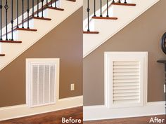 Pretty, Wooden Return Vent!    Photo Gallery Wall Under the Stairs { House Tour }
