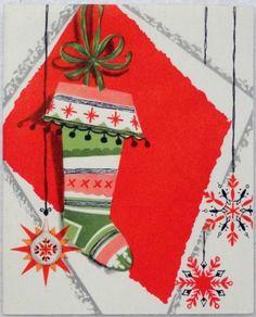 #1721 50s Unused Mid Century Stocking-Vintage Christmas Card-Greeting