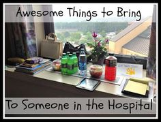 Huge list of helpful things to bring to someone in the hospital.  Great for gift bags, new moms, or someone who is sick.
