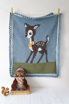 Ravelry: Hello Deer Crochet Baby Blanket Woodland pattern by Little Doolally $4.99