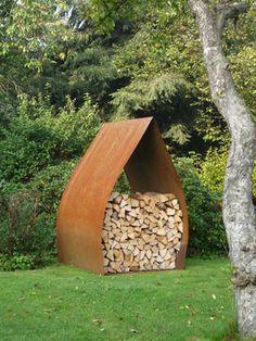 Fire wood storage: CorTen Steel.