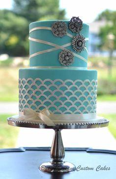 Tiffany's Cake - Cake by Elisabeth Palatiello Teal Cake, Purple Cakes, Green Cake, Buttercream Cake, Fondant Cakes, Tiffany Blue Cakes, Cool Birthday Cakes, 50th Birthday, Birthday Celebration