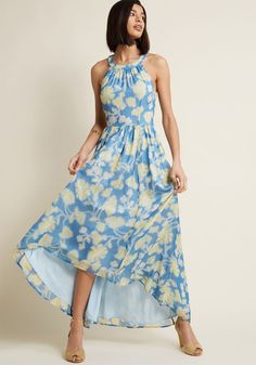 1dca5a0fc58 Brave New Whirl Maxi Dress in Blue Floral in 1X - Sleeveless A-line by