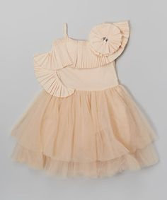 Look at this #zulilyfind! Dusty Pink Asymmetrical Rosette Dress - Toddler & Girls by Blossom Couture #zulilyfinds