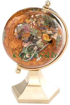 Gemstone world map mother of pearl ocean free shipping gemstone the copper amber gemstone globe contempo gold arch and base is a great choice for a decorative desk globe manufactured with some of the best quality gumiabroncs Image collections