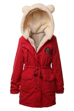 ROMWE | ROMWE Two-piece Panda Ear Hooded Badage Red Coat, The Latest Street Fashion