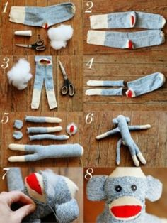 {DIY sock monkey} Make this cute sock monkey made out of an old sock! This is super fun make, and it would look adorable in a kids room.