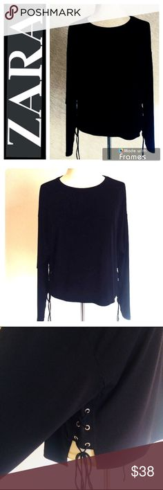 """NWOT Zara Basic Collection Top Lace Up Sides Zara Woman Basic Collection Top Lace Up Sides Black New Without Tags. Never Worn. Purchased at Zara Hollywood, CA summer 2017 while on vacation.   Measurements: Length: Front 20"""" Back 22"""" Arm Length: 19"""" Bust: 22-23"""" Waist: 20"""" laced up   See pictures for details and condition   Ask questions before purchasing   Bundle and save  Don't wait for me to drop prices feel free to use the offer button below. I accept most reasonable offers  🧜♀️ Happy…"""