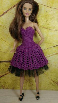 Одежда для Барби, платье для Барби 5 – купить или заказать в интернет-магазине на Ярмарке Мастеров | Кокетливое платье из хлопковой пряжи на пышной…