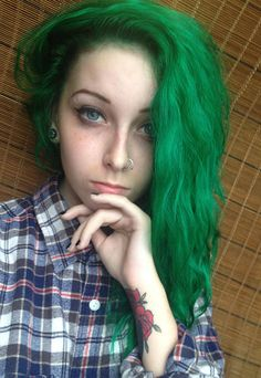 Long Light Green Hairstyle