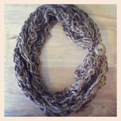 Rope style scarf Fingerknit with rustic button