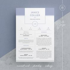 Modern Resume Template and Cover Letter Template for Word | Photoshop | Indesign | DIY Printable 3 Pages | Modern and Professional Curriculum vitae | Lebenslauf