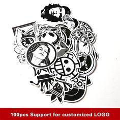 60PCS Pack Random music Skateboard Guitar Travel Case sticker Black and white Car decal Cute Stickers fashion funny sticker