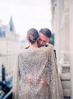 Glamorous Parisian elopement in a sequin gown