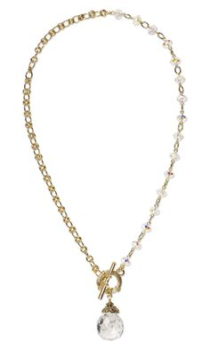 Single-Strand Necklace with German Crystal Drop, Swarovski Crystal Beads and Gold-Plated Jumprings - Fire Mountain Gems and Beads