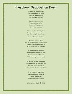 Preschool Graduation Poem